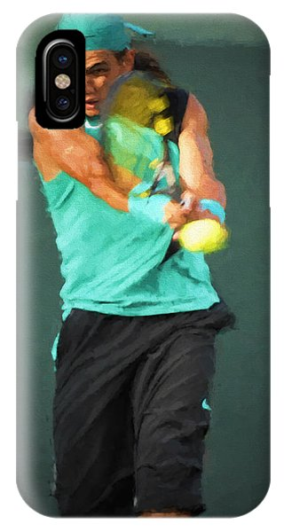 IPhone Case featuring the painting Rafael Nadal by Lou Novick