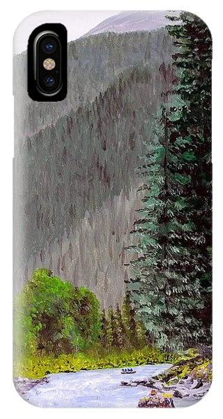 IPhone Case featuring the painting Rafting The Gallatin by Kevin Daly