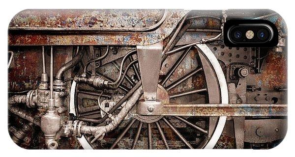Rail Wheel Grunge Detail,  Steam Locomotive 06 IPhone Case