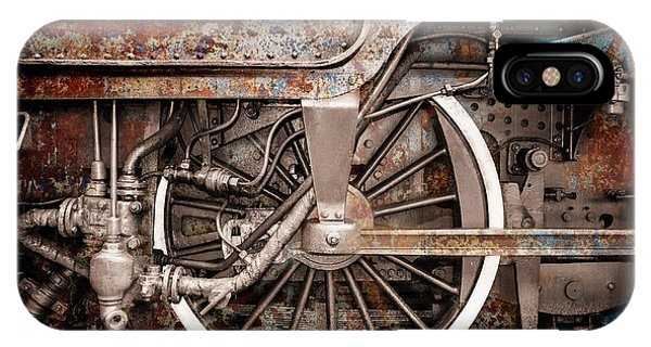Rail Wheel Grunge Detail,  Steam Locomotive 06 IPhone Case
