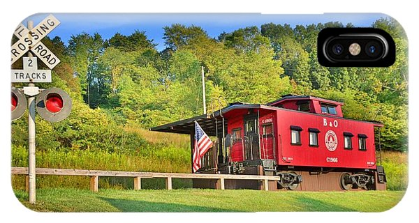 Red Caboose iPhone Case - Railroad Crossing And Caboose by Lisa Wooten