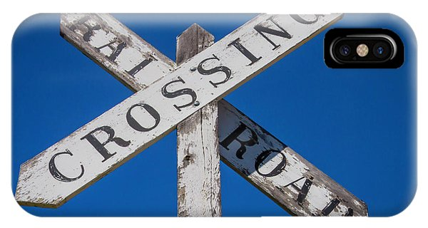Railroad Station iPhone Case - Railroad Crossing Wooden Sign by Garry Gay