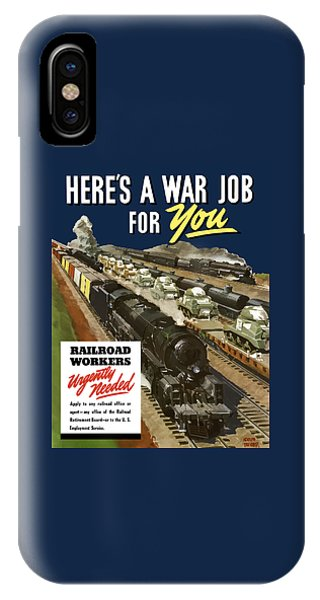 Train iPhone X Case - Railroad Workers Urgently Needed by War Is Hell Store