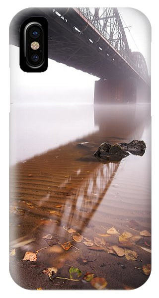 Railway Bridge During Foggy Morning In Prague, Czech Republic IPhone Case