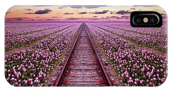 Railway In A Purple Tulip Field IPhone Case