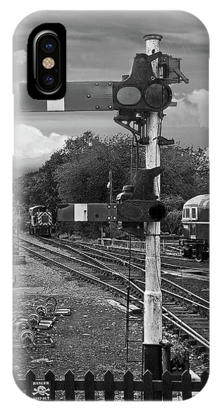 Railroad Signal iPhone Case - Railway Signals In Black And White by Gill Billington