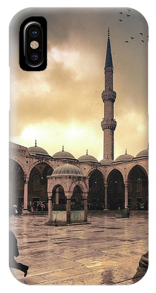 Rain At The Blue Mosque IPhone Case