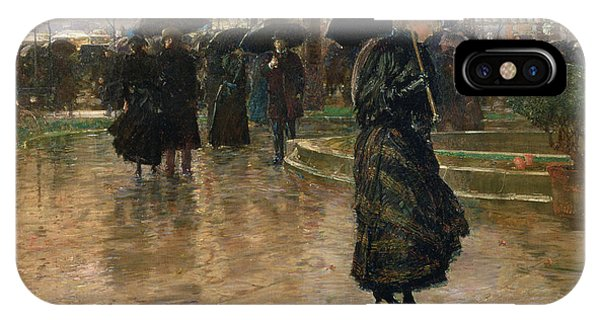 Reflection iPhone Case - Rain Storm Union Square by Childe Hassam