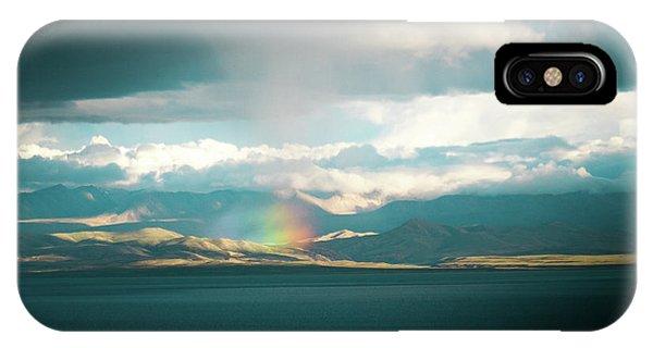 Kora iPhone Case - Rainbow Above Lake Manasarovar Kailash Yantra.lv by Raimond Klavins