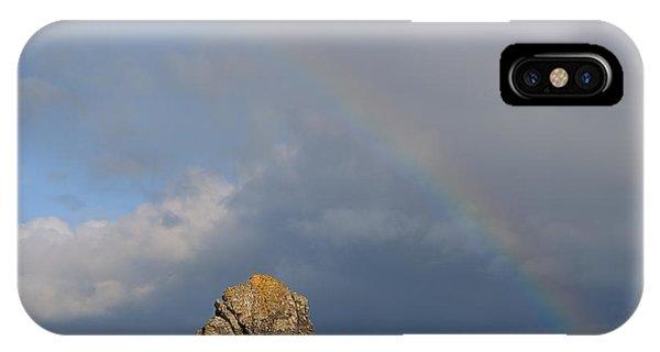 Rainbow Above Sango Bay Sea Stack IPhone Case