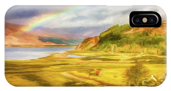 IPhone Case featuring the photograph Painted Effect - Rainbow Across The Valley by Susan Leonard