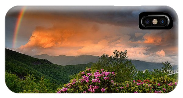 Rainbow And Rhododendrons On The Parkway IPhone Case