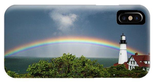 Rainbow At Portland Headlight IPhone Case