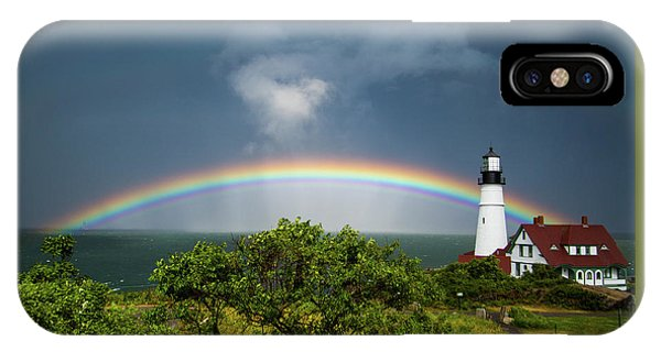IPhone Case featuring the photograph Rainbow At Portland Headlight by Darryl Hendricks