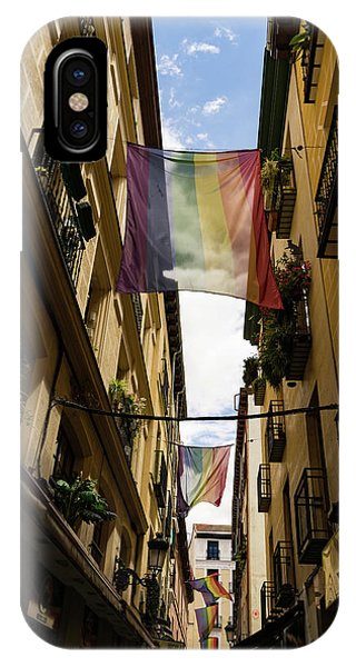 Gay Pride Flag iPhone Case - Rainbow Flags Decorating Madrid For Worldpride 2017 Celebrations by Georgia Mizuleva