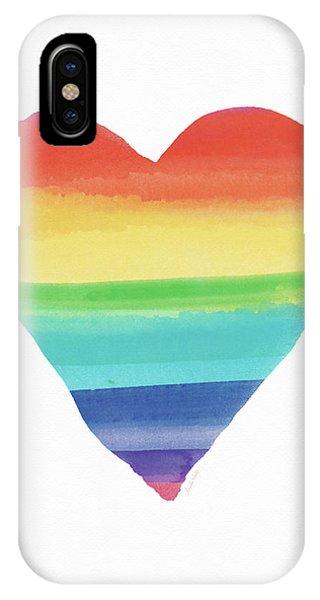 Lgbt iPhone Case - Rainbow Heart- Art By Linda Woods by Linda Woods