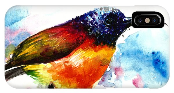 Sonne iPhone Case - Rainbow Hummingbird Watercolor by Tiberiu Soos