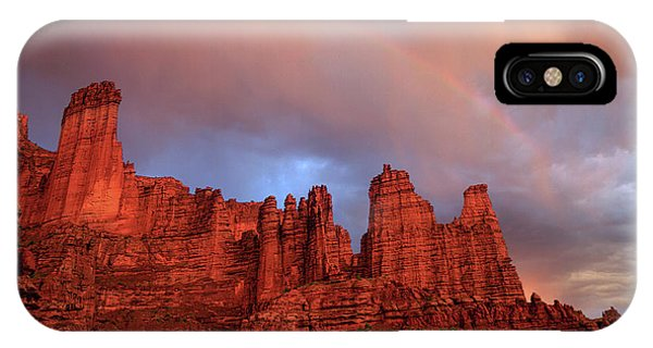 Rainbow In Virga Over Fisher Towers IPhone Case
