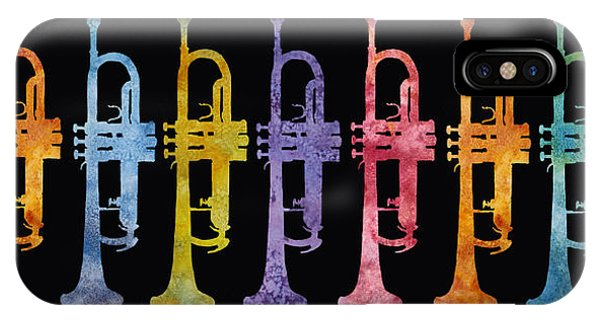 Trumpet iPhone Case - Rainbow Of Trumpets by Jenny Armitage