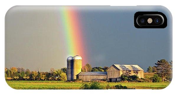 Rainbow Over Barn Silo IPhone Case