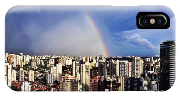 Rainbow Over City Skyline - Sao Paulo IPhone Case