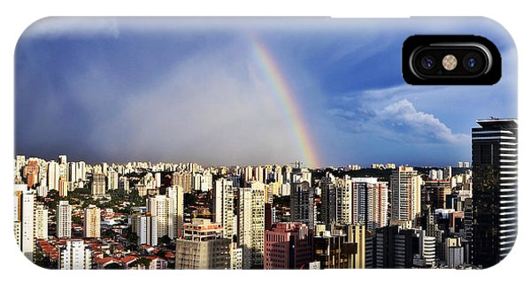 Rainbow Over City Skyline - Sao Paulo IPhone Case