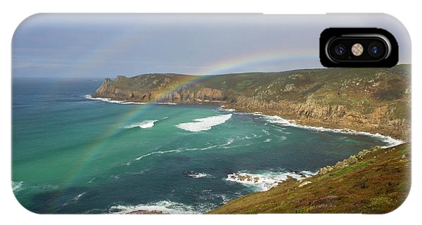 Rainbow Over Nanjizal Bay In Cornwall IPhone Case