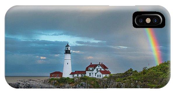 Rainbow Over Portland Head Light IPhone Case
