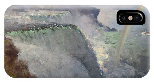 Waterscape iPhone Case - Rainbow Over The Falls by Ylli Haruni