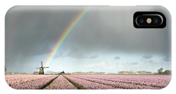 IPhone Case featuring the photograph Rainbow Over Windmill And Flower Fields by IPics Photography