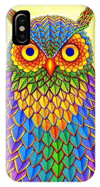 Vibrant iPhone Case - Rainbow Owl by Rebecca Wang