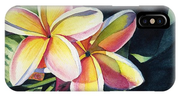 Flowers iPhone X / XS Case - Rainbow Plumeria by Marionette Taboniar