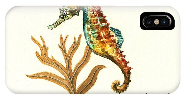 Seahorse iPhone Case - Rainbow Seahorse by Juan Bosco