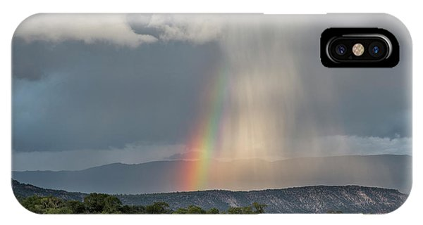 Rainbow Storm Over Log Hill IPhone Case