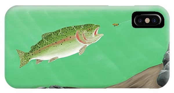 Rainbow Trout - Enticed From The Pool Phone Case by Ralph Martens