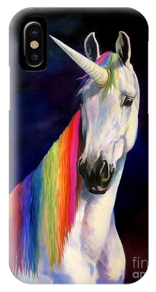 Unicorn iPhone Case - Rainbow Unicorn by Jeanne Newton Schoborg