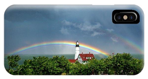 Rainbow X 2 At Portland Headlight IPhone Case