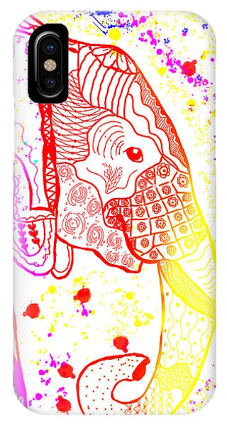 Rainbow Zentangle Elephant IPhone Case