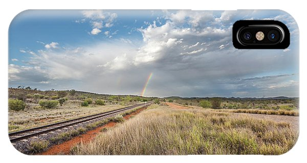 Rainbows Over Ghan Tracks IPhone Case
