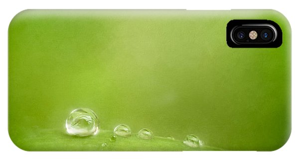 Water Droplets iPhone Case - Raindrops On Green by Scott Norris
