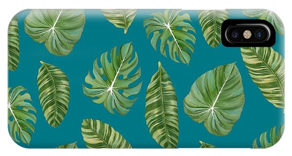 For iPhone Case - Rainforest Resort - Tropical Leaves Elephant's Ear Philodendron Banana Leaf by Audrey Jeanne Roberts
