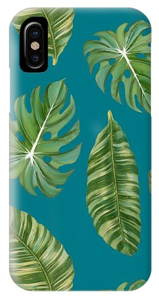 Rainforest Resort - Tropical Leaves Elephant's Ear Philodendron Banana Leaf IPhone Case