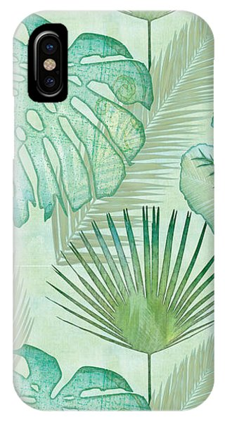 Aqua iPhone Case - Rainforest Tropical - Elephant Ear And Fan Palm Leaves Repeat Pattern by Audrey Jeanne Roberts