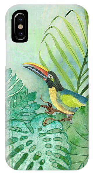 Toucan iPhone Case - Rainforest Tropical - Tropical Toucan W Philodendron Elephant Ear And Palm Leaves by Audrey Jeanne Roberts