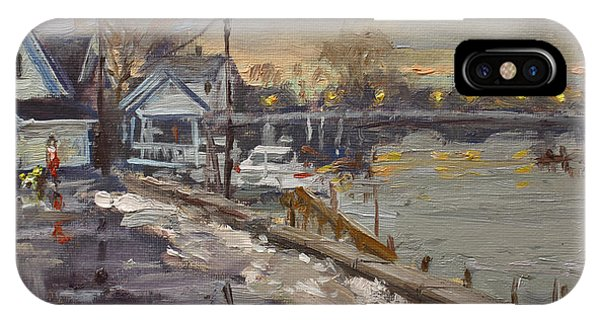 Waterscape iPhone Case - Rainy And Snowy Evening By Niagara River by Ylli Haruni