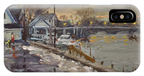 Snowy iPhone Case - Rainy And Snowy Evening By Niagara River by Ylli Haruni