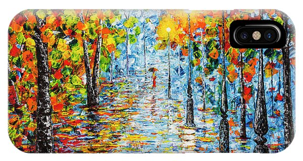 IPhone Case featuring the painting Rainy Autumn Evening In The Park Acrylic Palette Knife Painting by Georgeta Blanaru