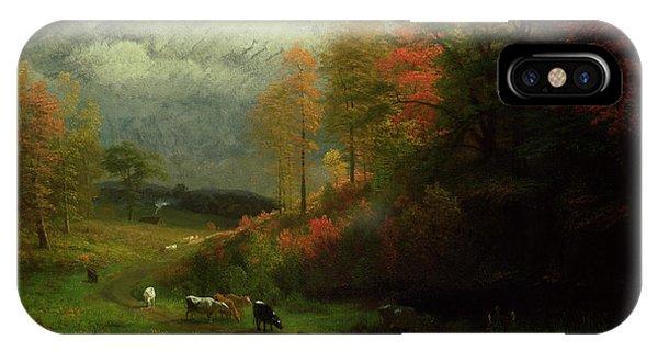 New England Coast iPhone Case - Rainy Day In Autumn by Albert Bierstadt