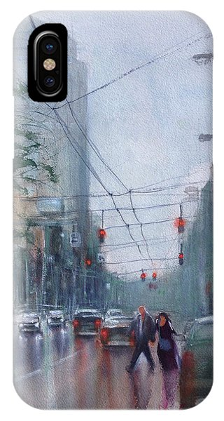 Rainy Downtown Dayton Day IPhone Case