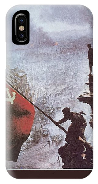 Raising The Soviet Flag  On The Reichstag Building Berlin Germany May 1945 IPhone Case
